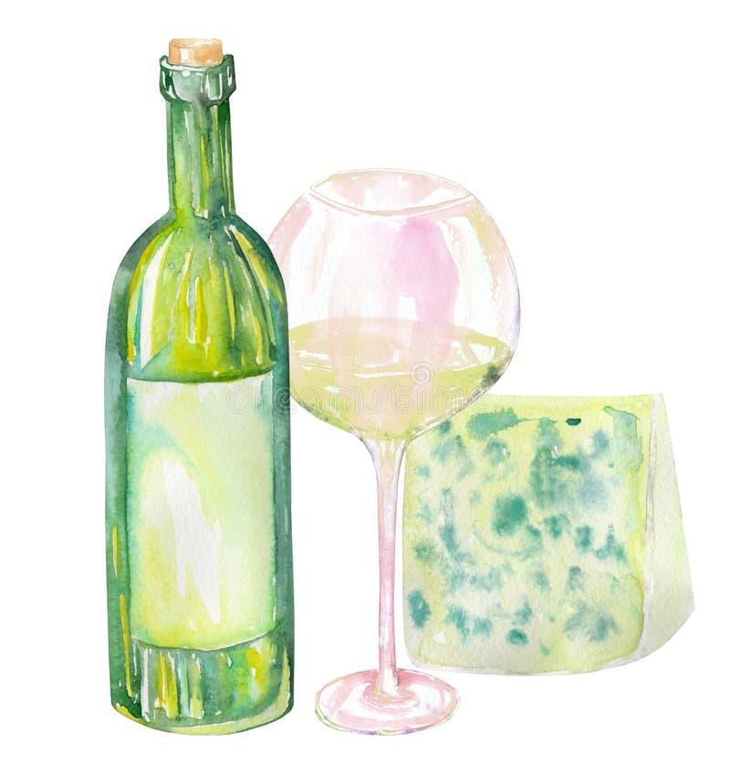 Imagen de la botella de vino de la acuarela, del queso verde y del vidrio del vino blanco Pintado a mano en una acuarela ilustración del vector