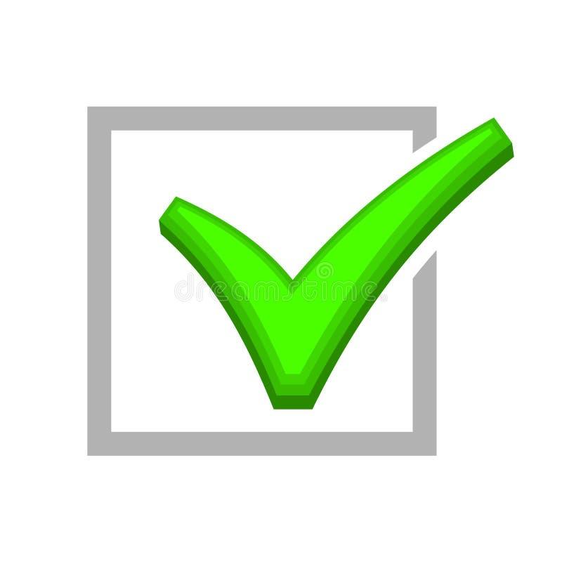 Imagen de la caja que es comprobada por la marca de verificación verde ilustración del vector