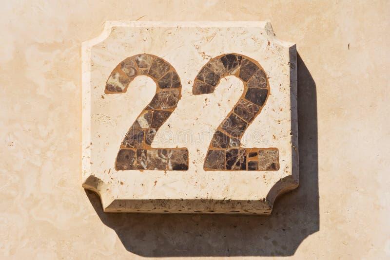 Imagen de la casa número 22 imágenes de archivo libres de regalías