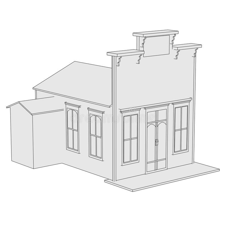 Imagen de la casa occidental stock de ilustración