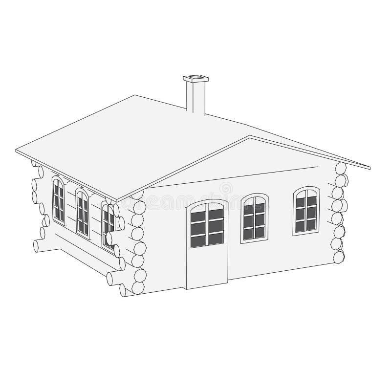 Imagen de la casa rusa stock de ilustración