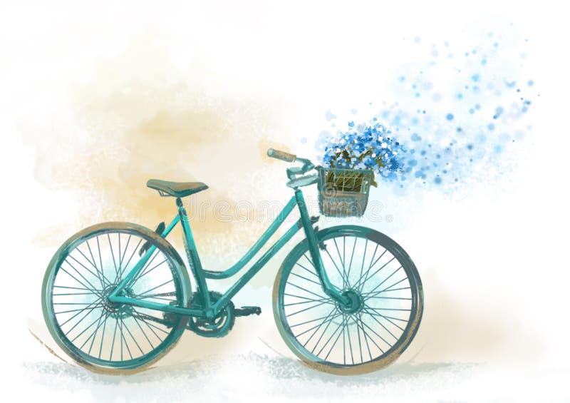 Imagen de la cesta de la pizca de la bicicleta de flores stock de ilustración