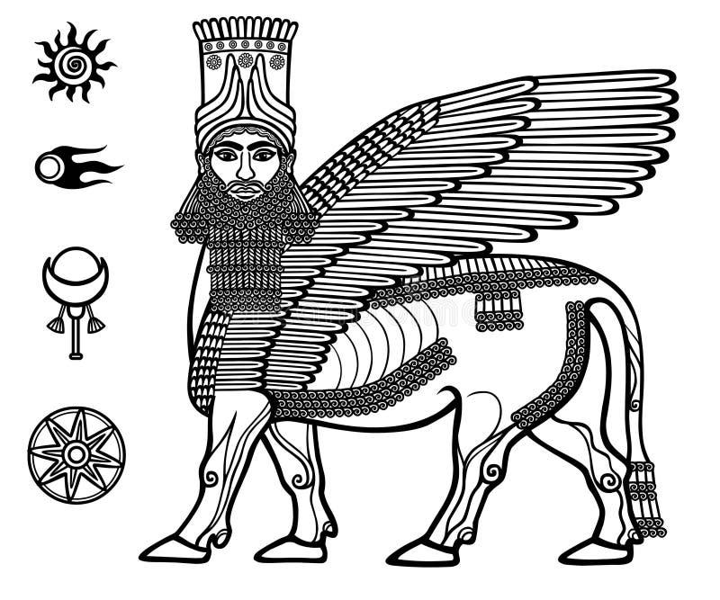 Imagen de la deidad mítica asiria Shedu: un toro con alas con la cabeza de la persona ilustración del vector