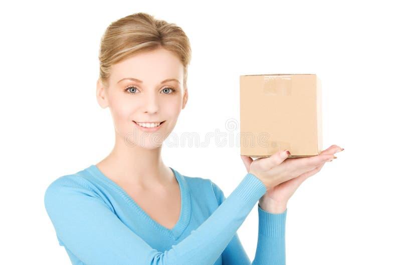 Imagen de la empresaria con el paquete imagenes de archivo