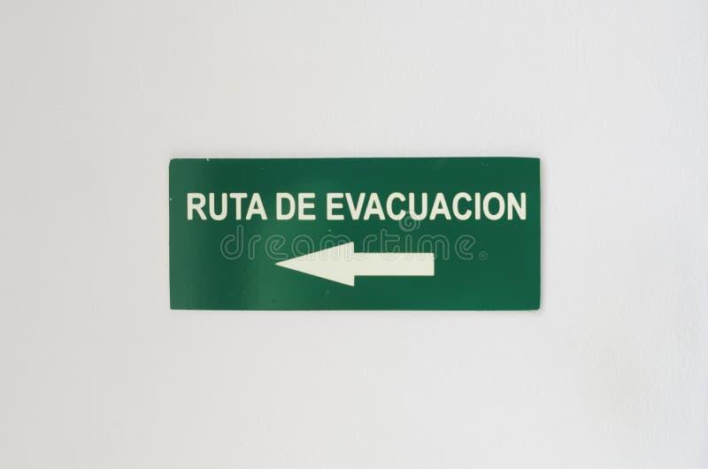Imagen de la evacuación del indicador intermitente de la señal de tráfico imágenes de archivo libres de regalías