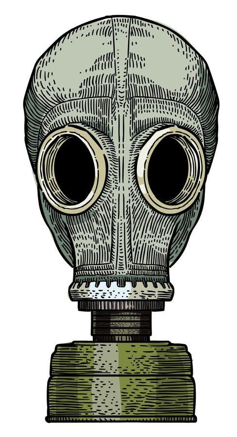 Imagen de la historieta de la careta antigás ilustración del vector