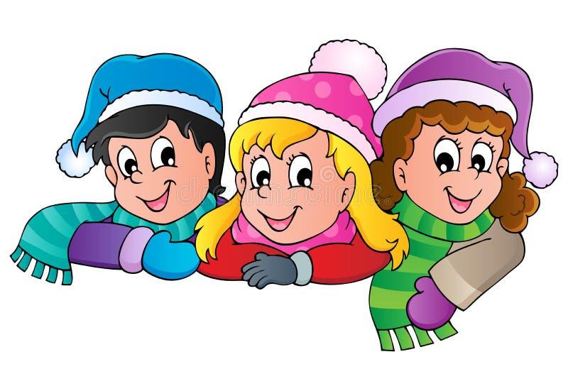 Imagen de la historieta de la persona del invierno   ilustración del vector