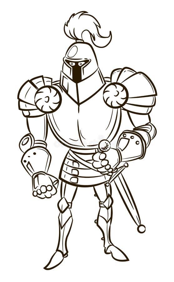 Imagen de la historieta del caballero medieval ilustración del vector