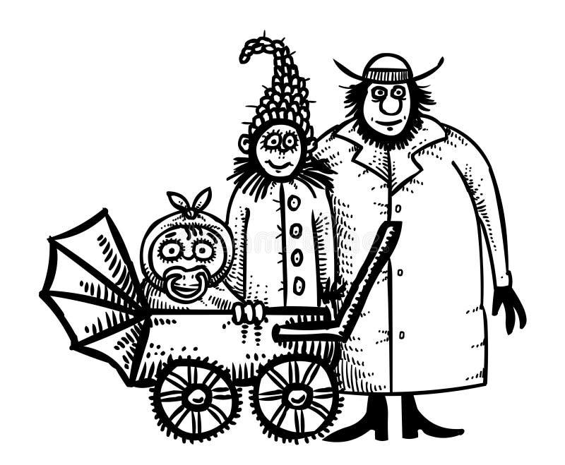 Imagen de la historieta del icono de la familia Padres con símbolo del niño ilustración del vector