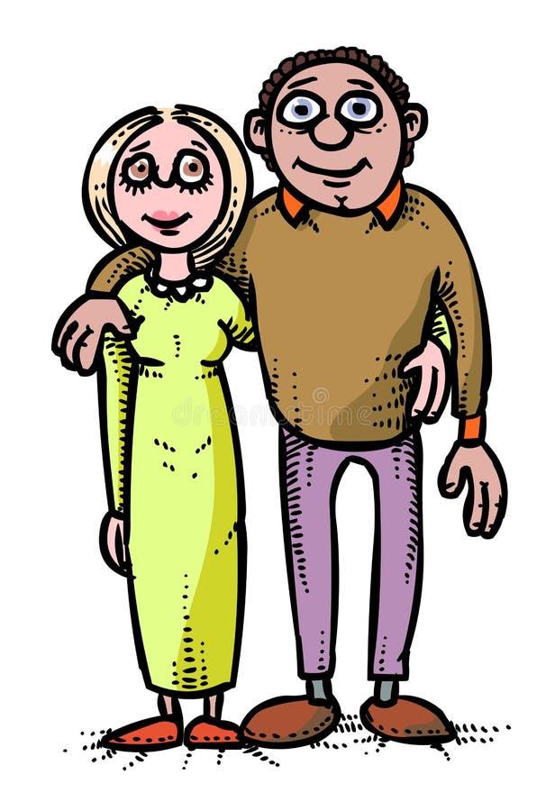 Imagen de la historieta del icono de la familia Parents símbolo ilustración del vector