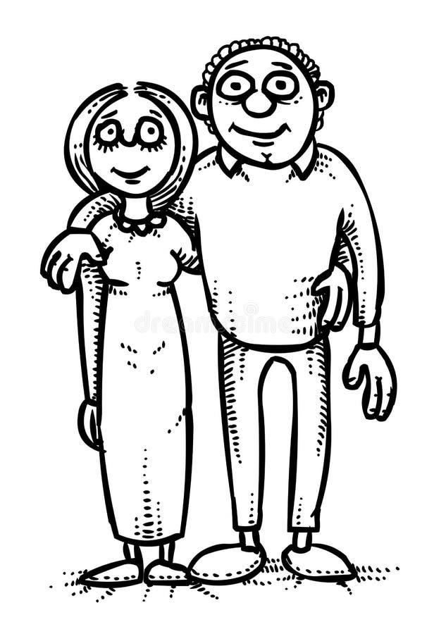 Imagen de la historieta del icono de la familia Parents símbolo stock de ilustración
