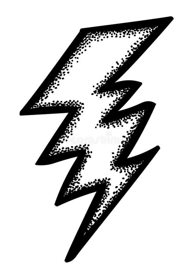 Imagen de la historieta del icono del relámpago Símbolo del perno stock de ilustración
