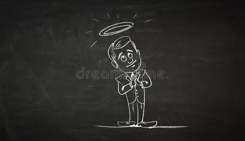 Imagen de la historieta del personaje del negocio Técnicas mixtas stock de ilustración
