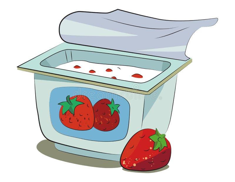 Imagen de la historieta del yogur stock de ilustración