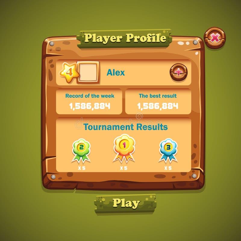 Imagen de la interfaz de usuario de madera de las ventanas Perfil del jugador ilustración del vector