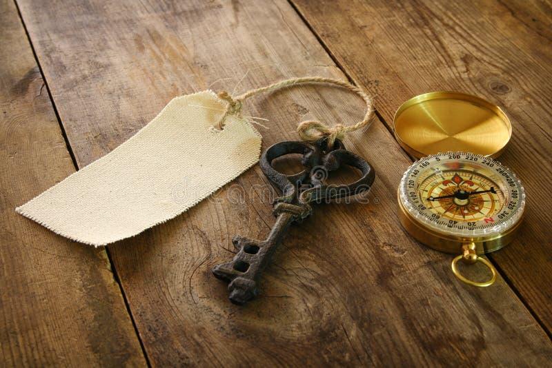Imagen de la llave antigua, de la etiqueta vacía de la lona y del compás imágenes de archivo libres de regalías