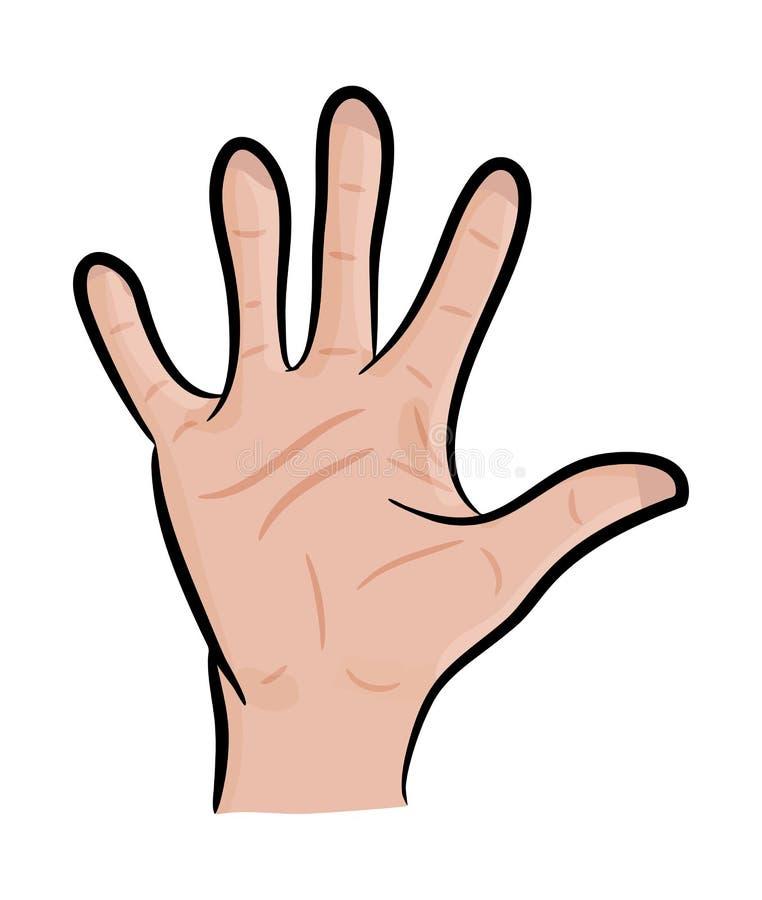 Imagen de la mano humana de la historieta, palma abierta del gesto, agitando, Ilustración del vector en el fondo blanco ilustración del vector
