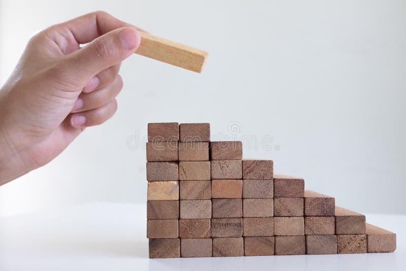 Imagen de la mano que lleva a cabo el juego de madera de los bloques a crecer del negocio Riesgo de plan de gestión y de la estra fotografía de archivo