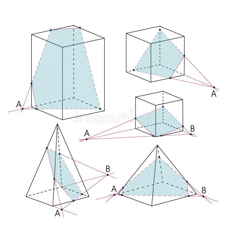 Imagen de la matemáticas - secciones de poliedros Fondo de la geometría ilustración del vector