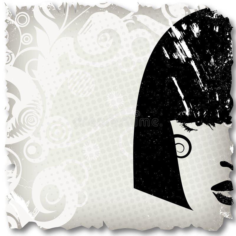 Imagen de la mujer en el estilo del grunge, backg del concepto de la manera stock de ilustración