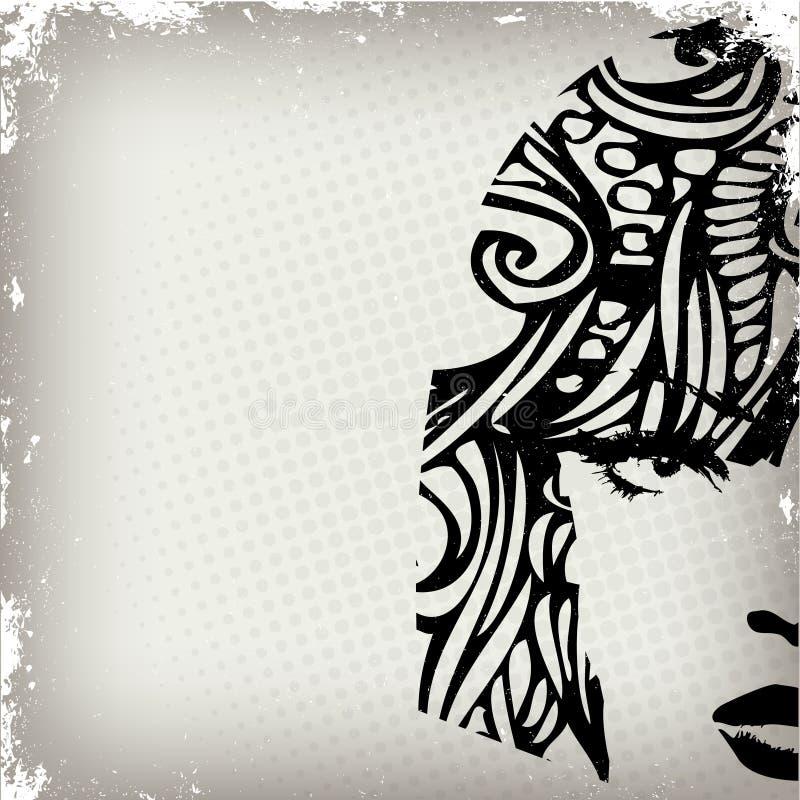 Imagen de la mujer en el estilo del grunge, backg del concepto de la manera libre illustration