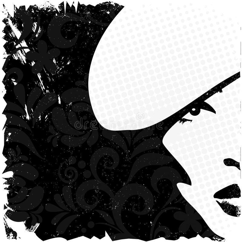 Imagen de la mujer en el estilo retro, backgroun de la tarjeta de la vendimia libre illustration