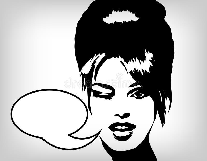 Imagen de la mujer en el estilo retro, fondo de la manera libre illustration