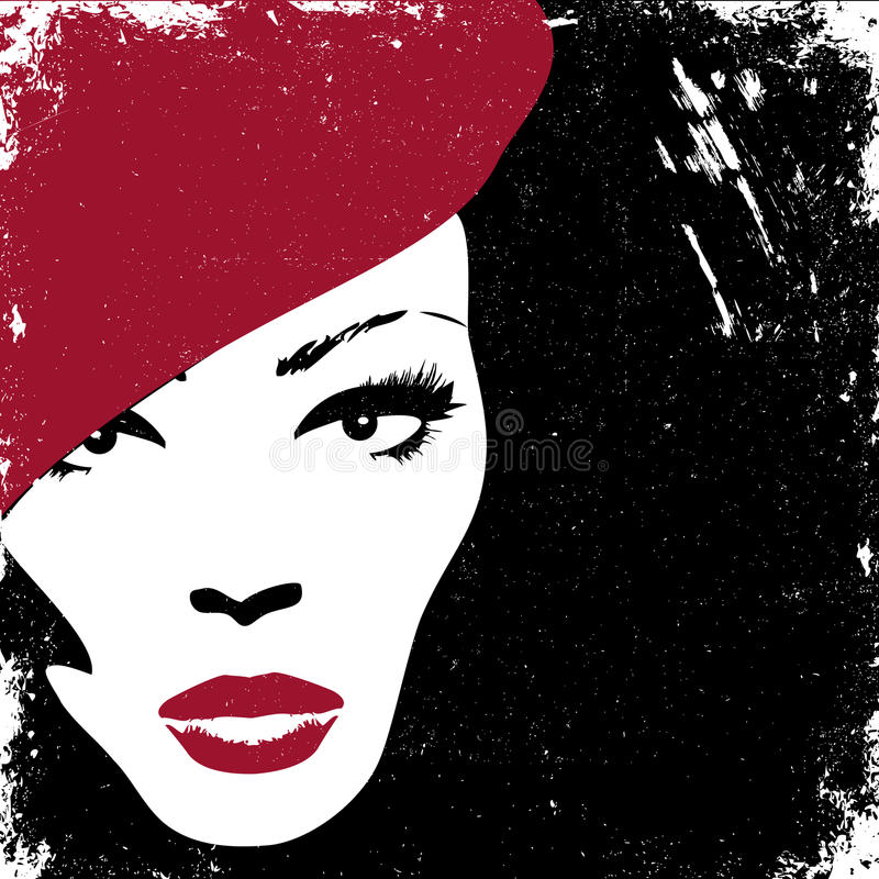 Imagen de la mujer en el estilo retro, tarjeta de la vendimia ilustración del vector