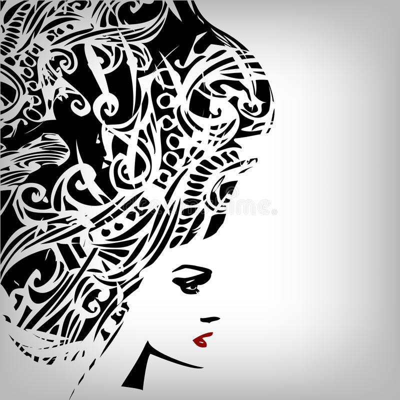 Imagen de la mujer en estilo del grunge stock de ilustración