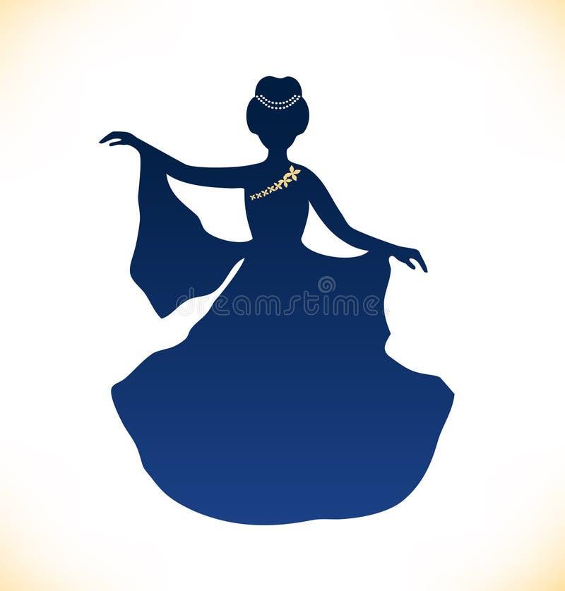 Imagen de la mujer romántica del baile. Silueta retra de la mujer libre illustration