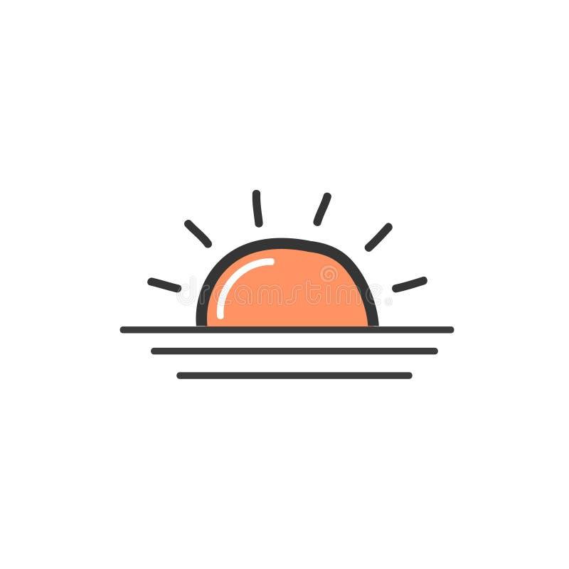 Imagen de la naranja la salida del sol Un símbolo del tiempo Ejemplo del garabato del vector stock de ilustración
