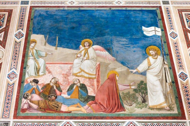 Imagen de la pared en la capilla de Scrovegni en Padua imágenes de archivo libres de regalías
