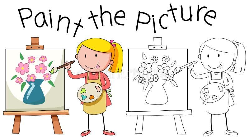 Imagen de la pintura del artista del garabato stock de ilustración