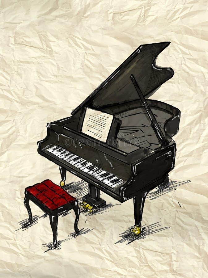 Imagen de la pintura del piano ilustración del vector