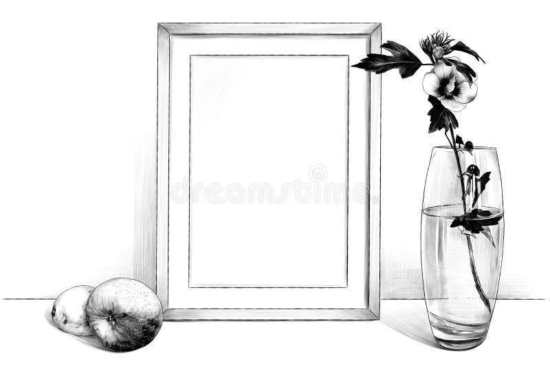 Imagen de la plantilla en el marco que se coloca en la tabla al lado de un florero de cristal con una flor y con Apple y un limón stock de ilustración