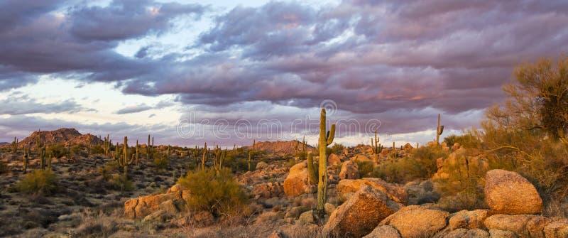Imagen de la puesta del sol del coto del rancho de los marrones en Scottsdale del norte, AZ foto de archivo