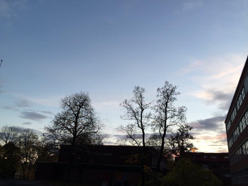 Imagen de la puesta del sol en Noruega imagen de archivo libre de regalías