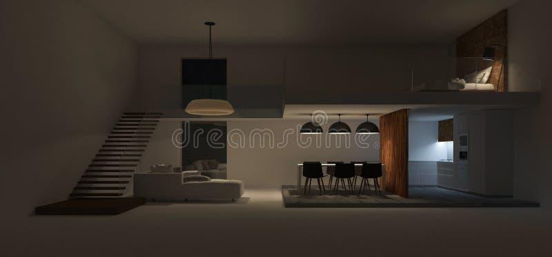imagen de la representación 3d del diseño interior del espacio doble stock de ilustración