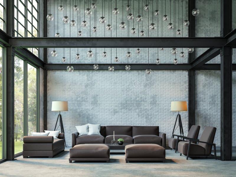 Imagen de la representación de la sala de estar 3d del estilo del desván stock de ilustración