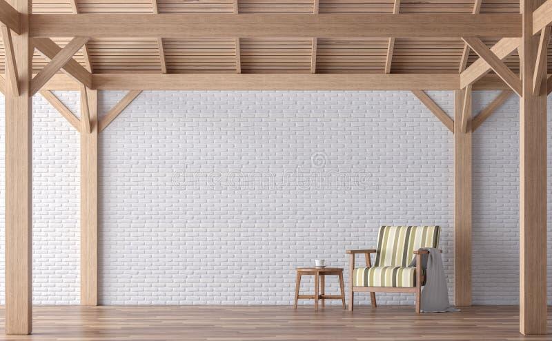 Imagen de la representación de la sala de estar 3d del estilo del desván ilustración del vector