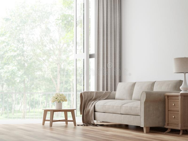 Imagen de la representación de la sala de estar 3d del vintage stock de ilustración