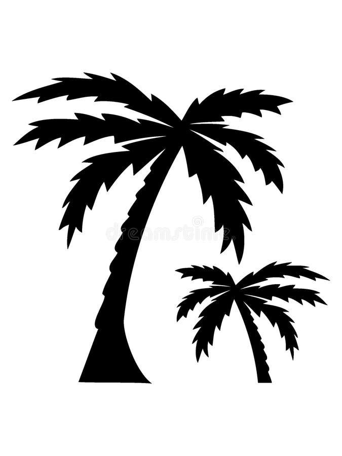 Imagen de la silueta de palmeras stock de ilustración