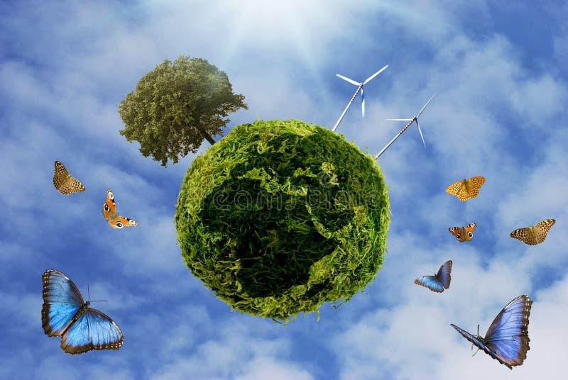 Imagen de la tierra en un contexto de la energía limpia imagen de archivo libre de regalías
