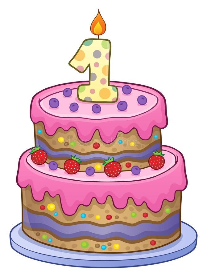 Imagen de la torta de cumpleaños para de 1 año stock de ilustración