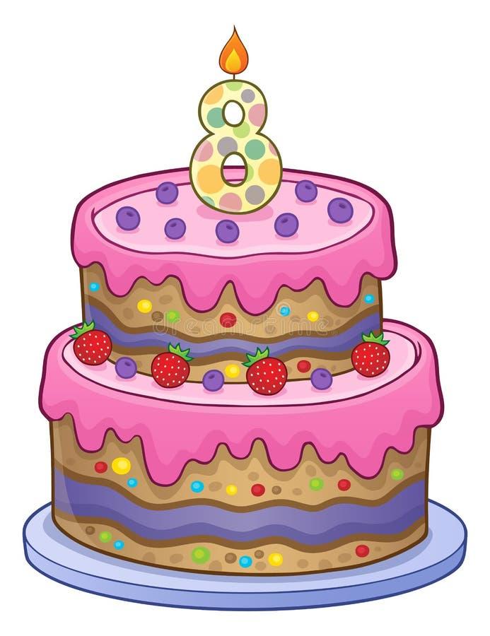 Imagen de la torta de cumpleaños por 8 años ilustración del vector