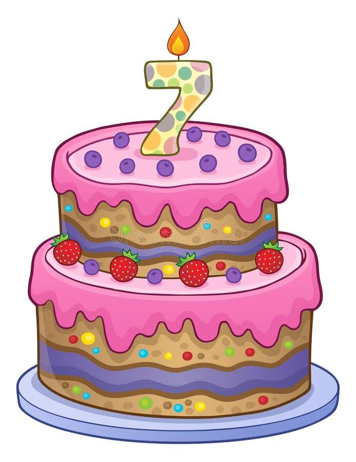 Imagen de la torta de cumpleaños por 7 años ilustración del vector