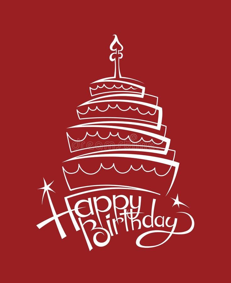 Imagen de la torta de cumpleaños stock de ilustración