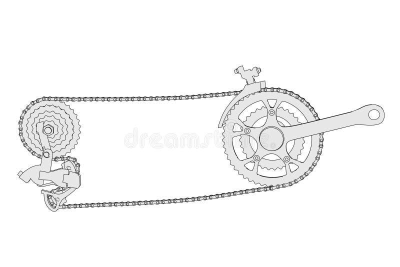 Imagen de la transmisión de la bicicleta stock de ilustración