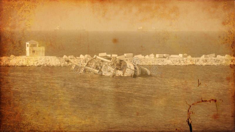 Imagen de la vendimia de la vieja ruina de la nave de la ruina imágenes de archivo libres de regalías
