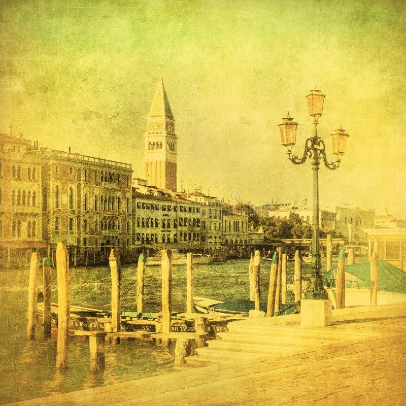 Imagen de la vendimia del canal magnífico, Venecia foto de archivo